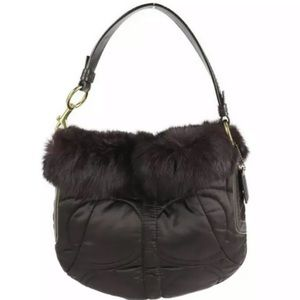 Like New Coach Soho Ski Bag With Rabbit fur
